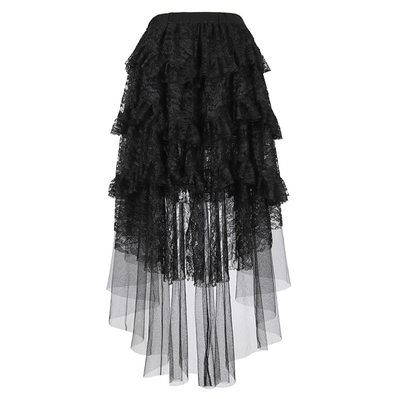 Steampunk Asymmetrical Skirt For Women Lace Corset Skirt Vintage Costume Tulle Multi Layered High Low Skirt Outfits Party