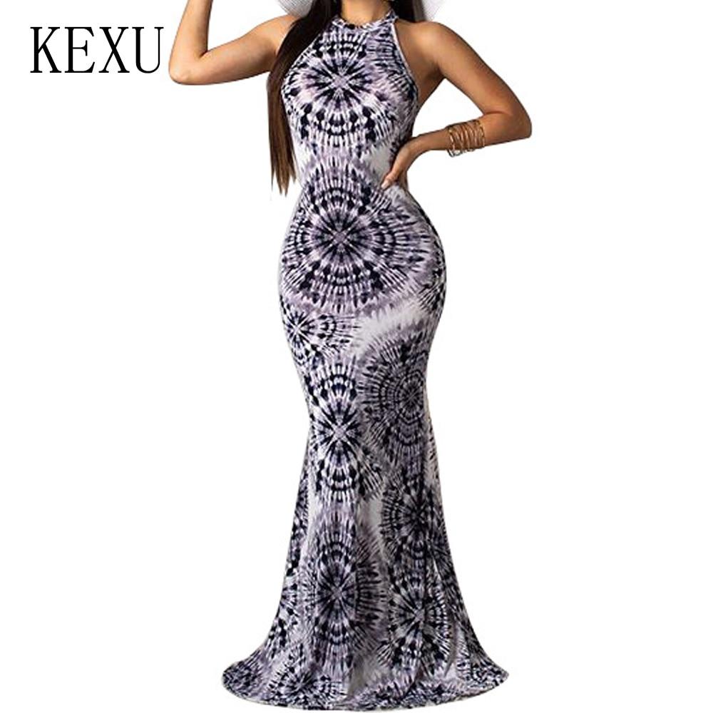 KEXU Elegant Vintage Print Sleeveless Dresses Sexy Hollow Out Off Shoulder Bodycon Dress Summer Bohemian Beach Party Maxi