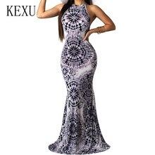 KEXU Elegant Vintage Print Sleeveless Dresses Sexy Hollow Out Off Shoulder Bodycon Dress Summer Bohemian Beach Party Maxi Dress цена и фото