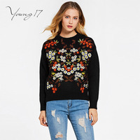 Young17 Pullover Knitted Sweater Black Embroidery Print Women Autumn Winter Long Sleeve Elegant Beauty Fashion Sweater