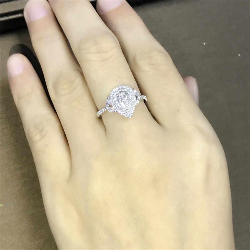 Choucong Настоящее серебро 925 проба, цветок, обещающее кольцо, капли воды, AAAAA cz обручальные Обручальные кольца для женщин, свадебные украшения