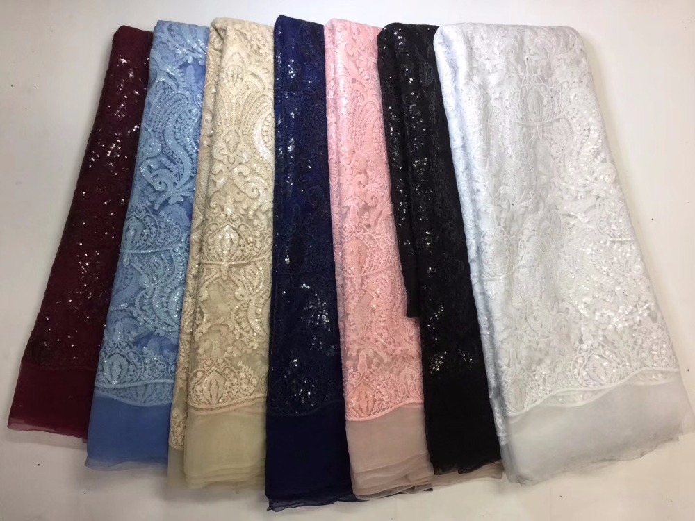 2018 latest sequin fabric high quality african tulle lace fabric with sequins net lace embroidery tulle lace for dress NA1383B-1