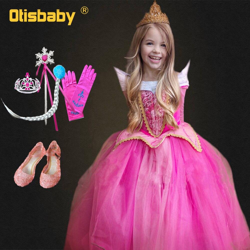 Dormir beleza fantasiar-se meninas princesa aurora vestido menina vestido de manga longa vestido de festa de natal das crianças fantasia infantil