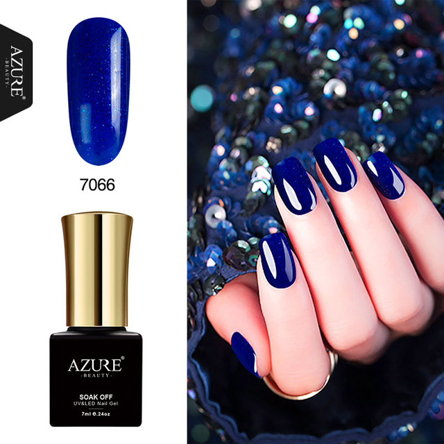 AZURE BELLEZZA Del Diamante Del Gel Nail Polish Blu Gel Per Unghie Soak Off  Shiny Paillettes