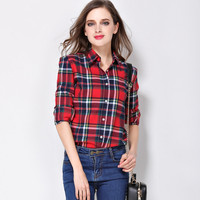 2015 Spring 100 Cotton Plaid Shirt Female Long Sleeve Casual Slim Women S Plus Size Shirt
