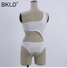 BKLD 2017 Hot Summer Women One Piece Bodysuits White Bandage Rompers Solid Sexy One shoulder Bodycon Jumpsuits Combinaison Femme