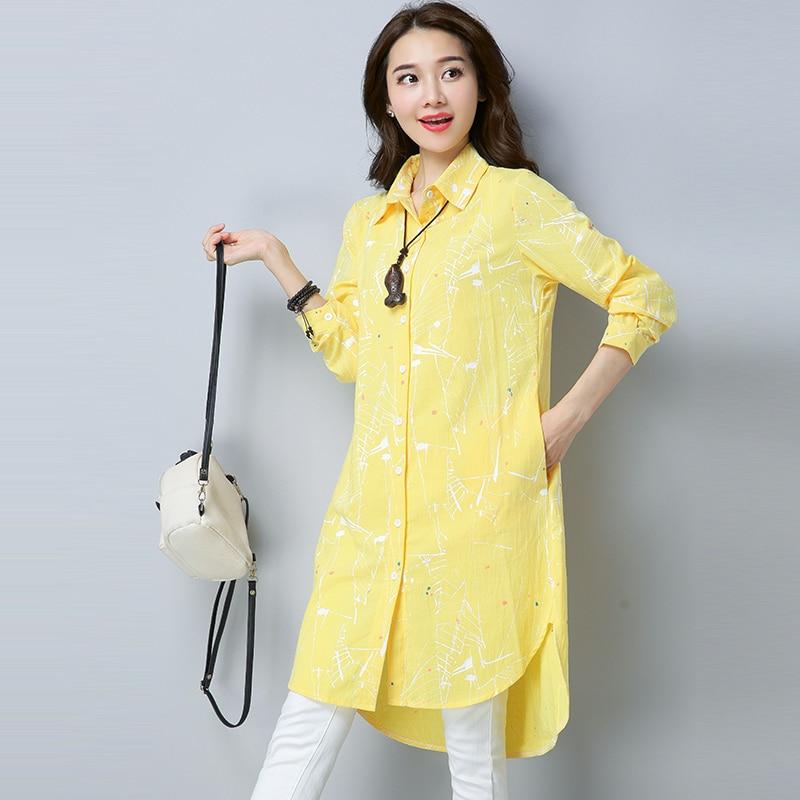 Chemisier femme coton & lin Graffiti col rabattu Long lagenlook dame Voguees tendance longues chemises lin tuniques Cardigan - 5