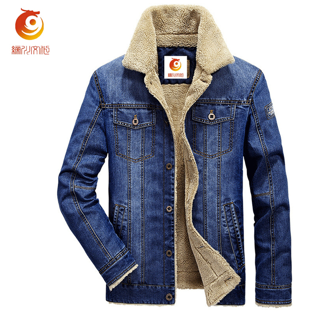 Denim Jacket Fur Collar Men 2017 Winter Retro Warm Denim Jackets ...