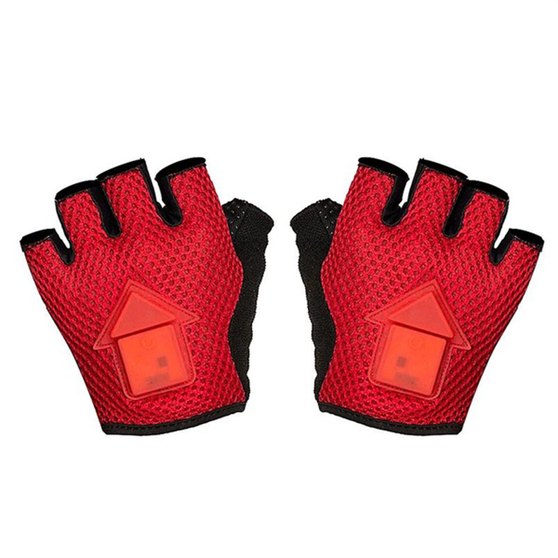 Portable Gravity Sensor Turn Signal Safety Warning LED Bicycle Gloves-L