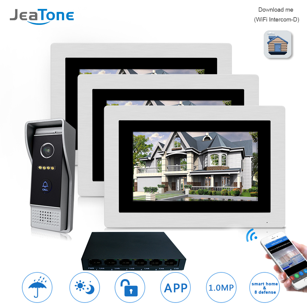 7 Inch WIFI IP Video Door Phone Intercom Door Bell Villa Building Access Control System Touch Screen Motion Detection 1 To 3