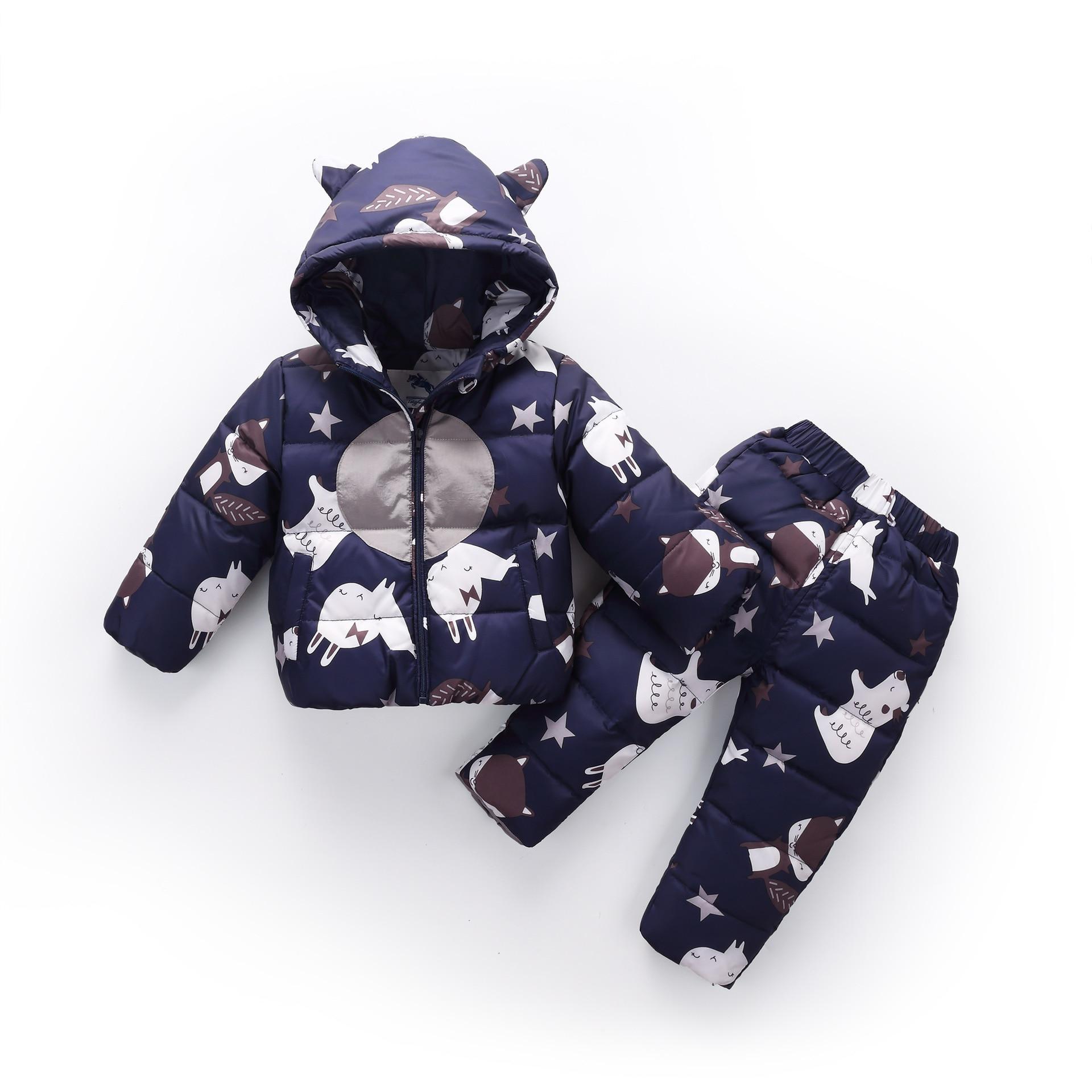 2018 Russian Winter Children Sets Warm Fashion Down Jacket for Baby Boy Girl Children's Coat Snow Wear Kids Ski Suit 1-3Years цена