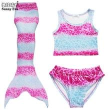 Sunny eva/купальный костюм для девочек с хвостом русалки, детский купальный костюм для девочек, Двухсекционный купальник, спортивный костюм Детский бикини купальник, 2 цвета