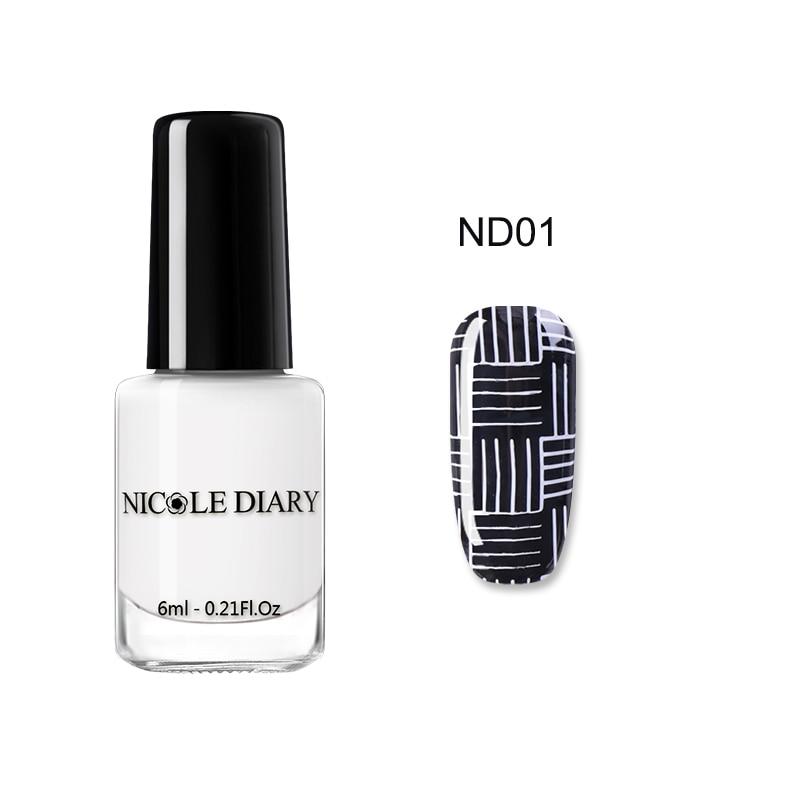 Buy Now Nicole Diary 6ml Nail Stamping Polish Black White Gold