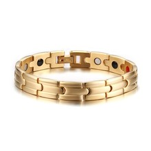2016 European and American Fashion Design Health Bracelet Bangle Stainless Steel Magnet Jewelry For Men Gold Plated