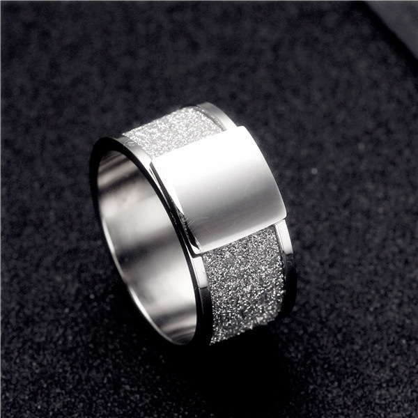 10mm Stainless Steel Scrub Ring Wedding Engagement Square Rings Men Women