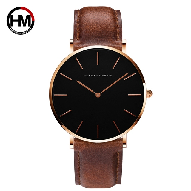 Drop Shipping Watches For Men Women Black Dial Simple Design Japan Quartz Moveme