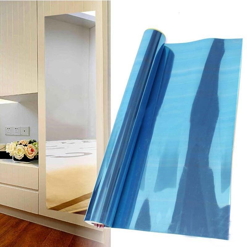 Sliver pet wall foil mirror sticker self adhesive wall for Pellicola a specchio adesiva