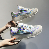 Silver Transparent Crystal Ladies Sneakers Spring Running Platform Sneakers Light Comfortable Glitter Vulcanize Women Shoes