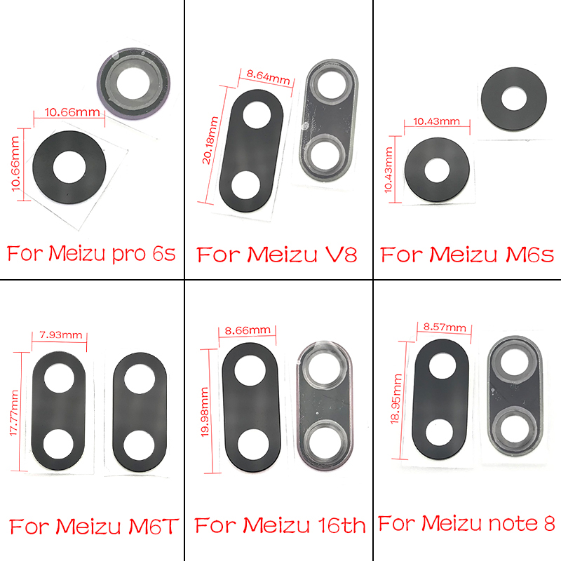 New Rear Back Camera Glass Lens Cover  With Sticker Glue For Meizu Pro 6 Plus 6S 7S 16TH M6S M6T Note 8 V8 Replacement Parts