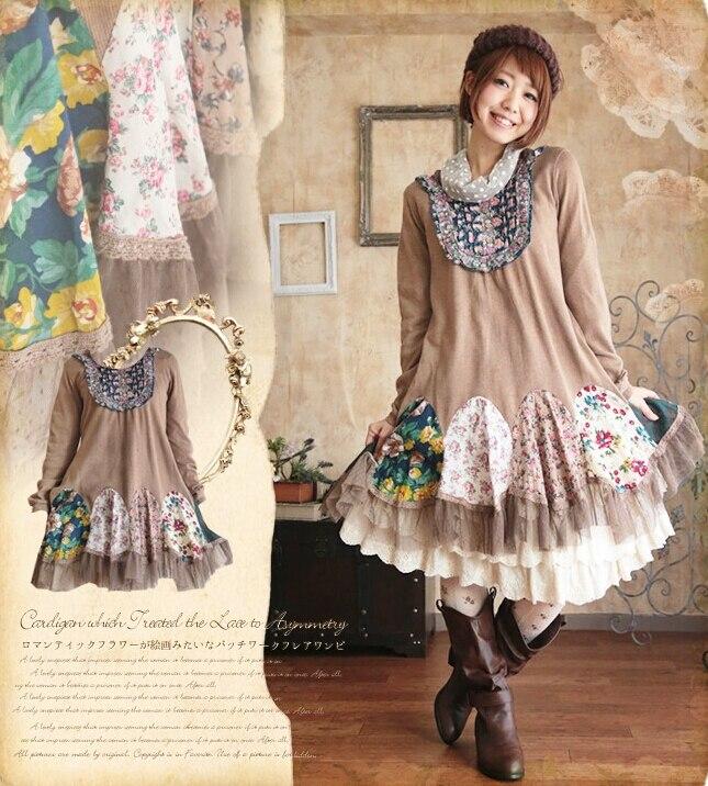 2015 Mori Girl Peacock Floral Patchwork Long Knit Dress