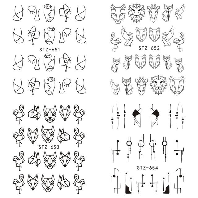 1pcs Nail Art Water Transfer Sticker Hollow Tattoo Decals Geometry Flamingo Dog Slider Adhesive Decoration Manicure BESTZ651-654
