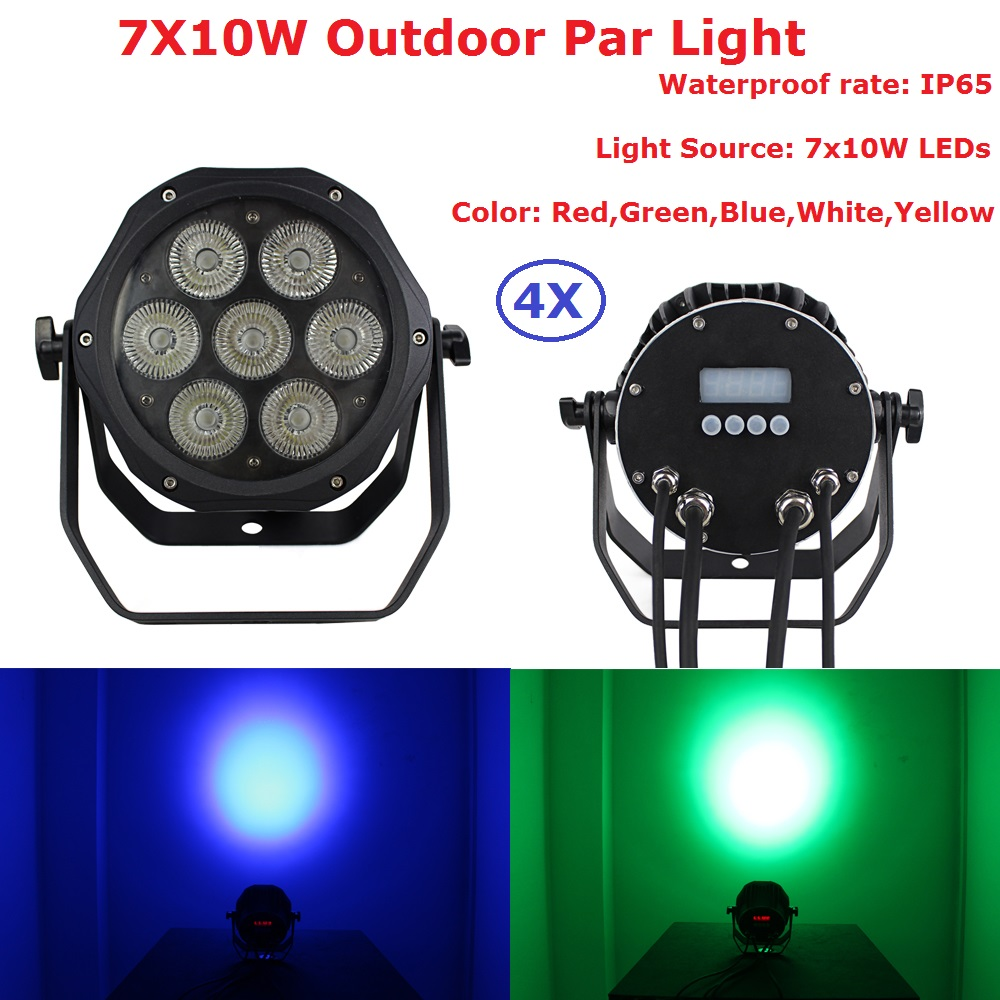 4Pcs/Lot Fast Shipping 7X10W RGBWY 5IN1 Led Par Light 100W  Outdoor Led Par Can Stage Light IP65 Professional Dj Stage Lighting free shipping 50 pcs lot oca optically clear adhesive tape for iphone 5 5c 5s 6 7 8 8p x 4 4 7 5 5 inches thickness 250 um