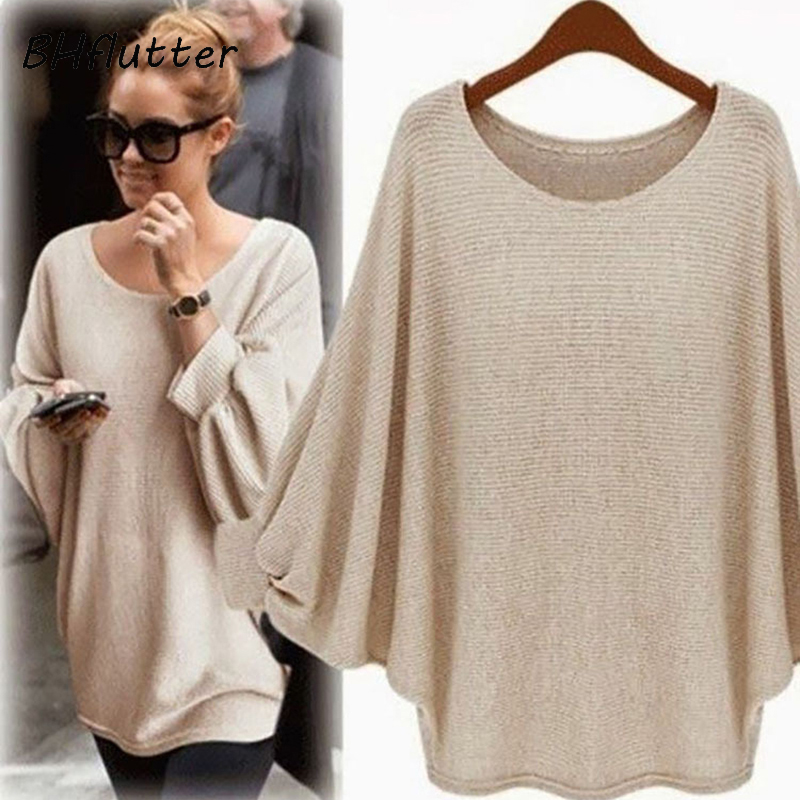BHflutter Autumn Thin Knitted Sweater Women Fashion Long Sleeve Batwing Casual Sweaters Jumpers Female Casual Knitwear Tops 2018