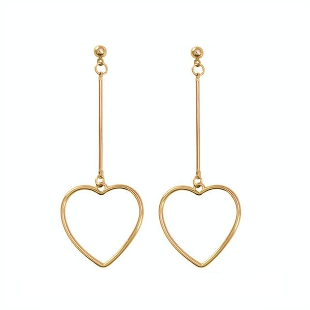 Золотые длинные серьги-гвоздики в форме сердца с вырезами, женские красивые серьги в старинном стиле