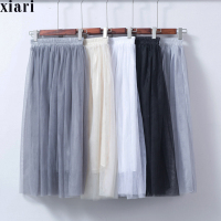 New Fashion Three Layer Tulle Skirts Women S Adult Tulle Skirt Elastic High Waist Pleated Skirt