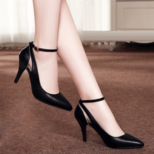 Black White PU Pointy Toe Belt Buckle Thin High-heeled Women Pumps 2016 Spring Newest Hot Sale Size 38 39 Female Single Shoes