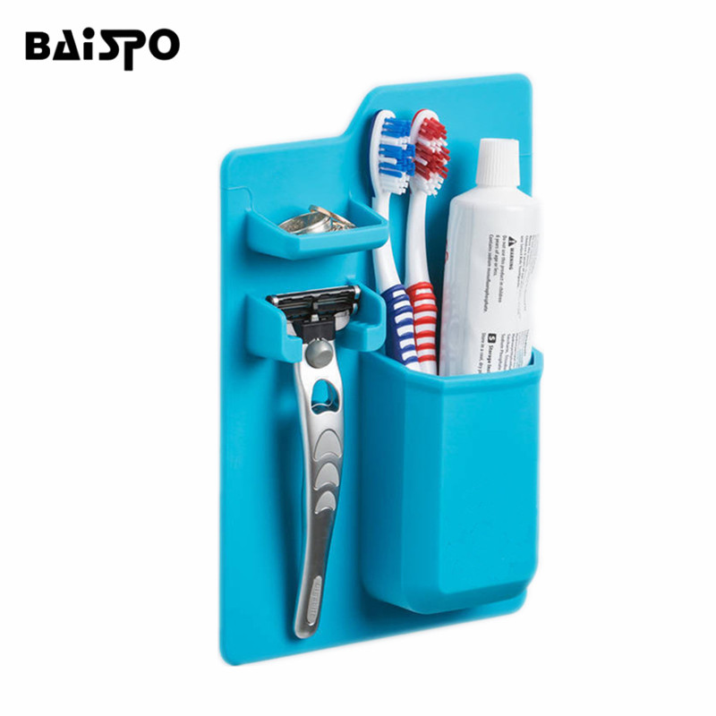 BAISPO Silicone Toothbrush Holder Waterproof Gel Toothpaste Shaver Organizer Hanger for Bathroom Mirror shower Accessories