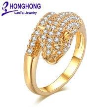 Фотография HONGHONG 2017 Cubic zirconia Leopard head rings for women shiny high-quality Animal Ring gift for female fashion jewelry