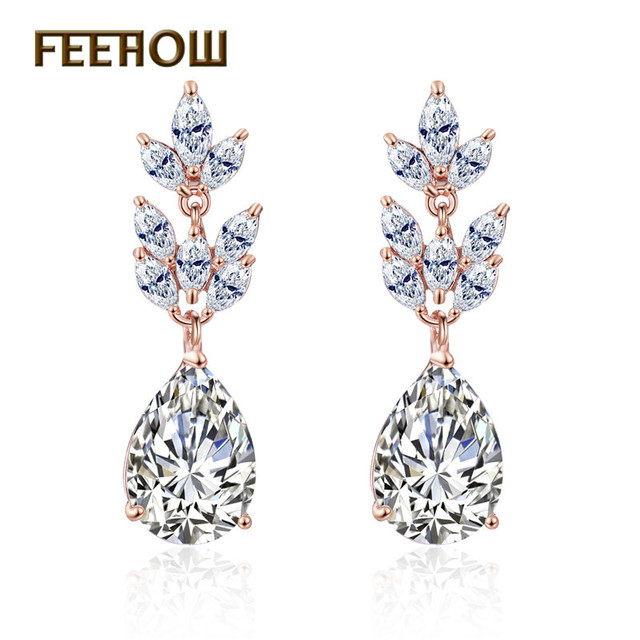 FEEHOW Bridal Jewelry Sliver Color Marquise Flower Hang Pear AAA+ Cubic Zirconia