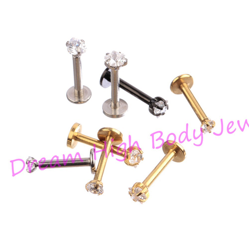 New Arrival Lip Stud Labret Piercing Ring Clear Zircon 316L Stainless Steel Gold Black Round Heart