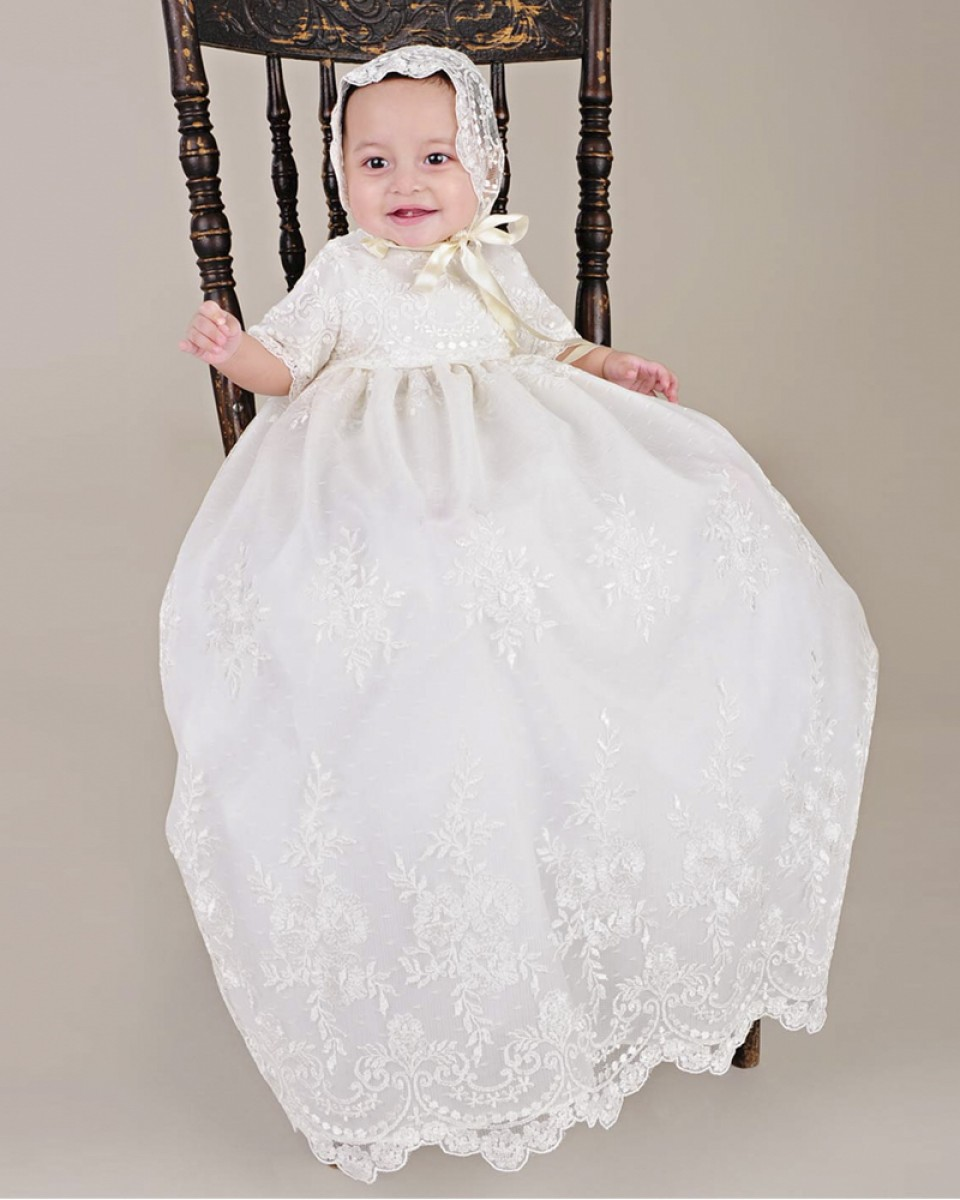 ФОТО New Hot baby girls christening gown ivory embroidered mesh dresses baptism long embroidery glorious 0 - 2 years With the hat D30