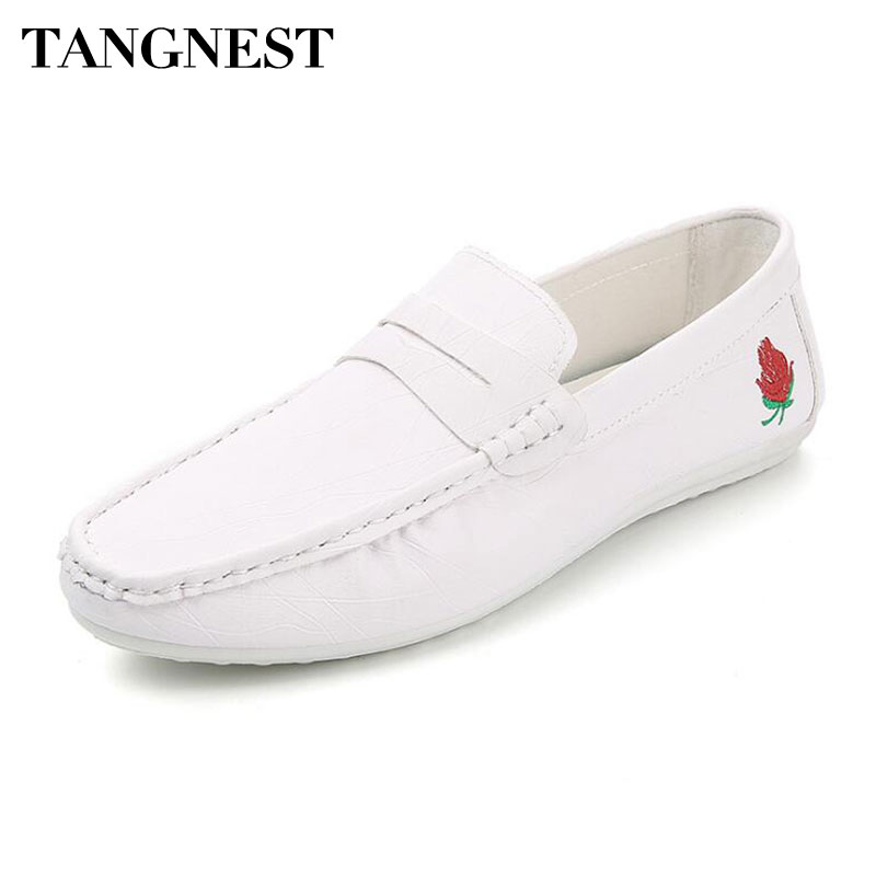 Tangnest Embroidery Loafers Flats-Moccasins Driving-Shoes Comfortable Slip-On Fashion