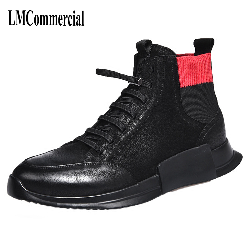 2018 winter high shoes men boots shoes Korean sportswear fashion shoes boots Martin light breathable sneaker fashion casual martin boots men s high boots korean shoes autumn winter british retro men shoes front zipper leather shoes breathable