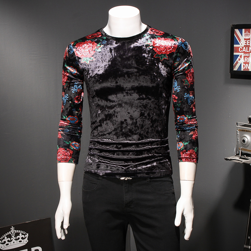 Floral t-shirts pour hommes fleurs imprimé t-shirts hommes t-shirts mode 2018 automne hiver velours t-shirt Homme Slim Fit décontracté