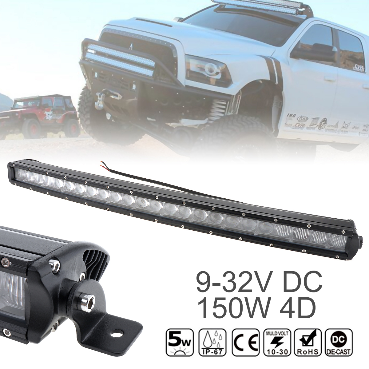 31 Inch Waterproof 50W Car LED Curved Worklight Bar 30x 4D Combo Offroad Light Driving Lamp for Truck SUV 4X4 4WD ATV