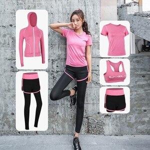 Image 1 - Женская спортивная одежда, комплект одежды для йоги, тренажерного зала, фитнеса, бега, бега на открытом воздухе, тренировочный Быстросохнущий комбинезон