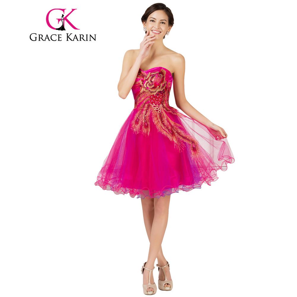 Baratos Grace karin short prom dress barato rebordear bordado del ...
