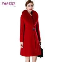 Winter Upscale Women Long Woolen Jacket 2018 New Middle Age High Quality Warm Wool Coat Fox