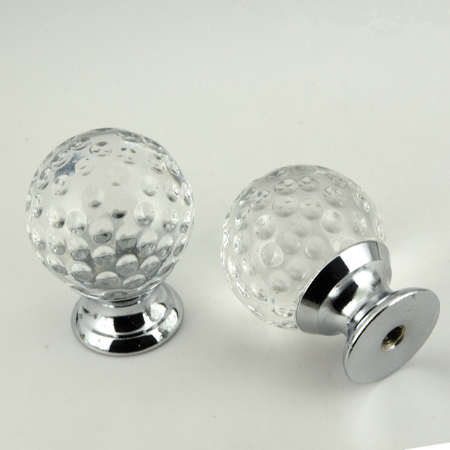 30mm Glass Corn Ball Drawer Tv Cabinet Shoe Cabinet Knobs Pulls Silver  Chrome Zinc Alloy Glass