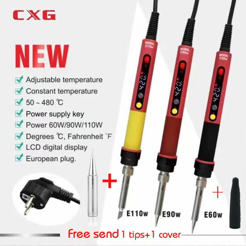2019 NEWEST 110V/220V EU/US/AU  ROHS CXG E60WT/90WT/110WT LCD Temperature Digital LED Adjustable Electric Soldering Iron+tips