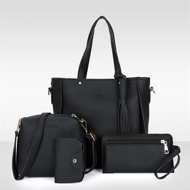 4Pcs Women Set Top-Handle Card Holder Large Capacity Women Tassel Handbag Shoulder Bag Wallet Ladies PU Leather Crossbody Bag