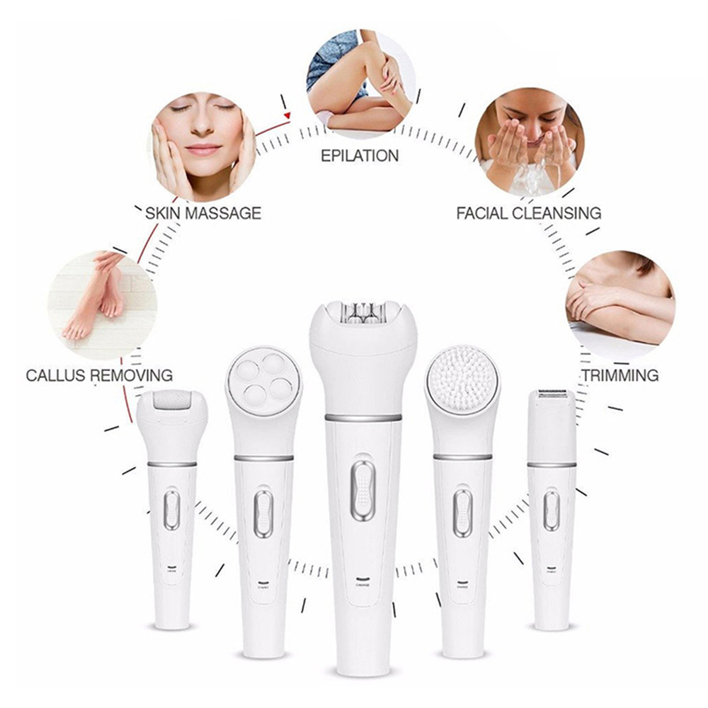 5 in 1 Beauty Combination Foot Pedicure Massager Facial Cleansing Brush Hair Removal Tool For Skin Care image