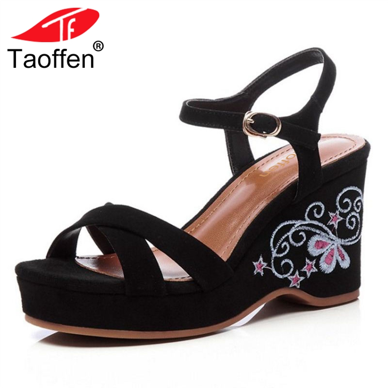 TAOFFEN Women High Heel Sandals Open Toe Floral Buckle Ladies Summer Shoes Vintage For Party Footwear Size 34-39 taoffen women high heel sandals buckle open toe mixed color genuine leather ladies shoes sexy sandals party footwear size 33 40
