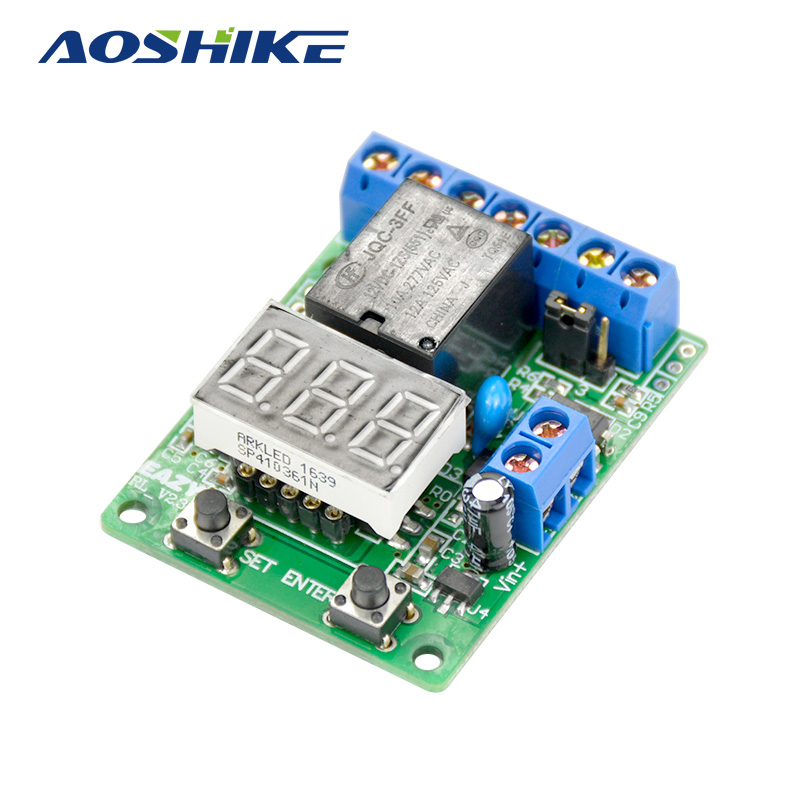 AOSHIKE Digital Display Voltage Control Relay Timer Switch Overvoltage/Under Voltage Protection Battery Charge Discharge Timing 12v led display digital programmable timer timing relay switch module stable performance self lock board