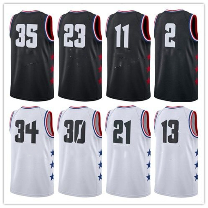 897f0089 2019 All Star Games 23 black white basketball jersey Kids Size Custom Name  Stitched