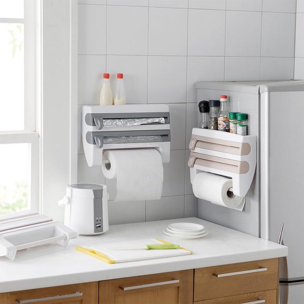 2017 Multifuncional Hogar Cocina Película Salsa Botella Almacenamiento Rack Dispensador de Papel Preservativo Película Rack Accesorio de Cocina